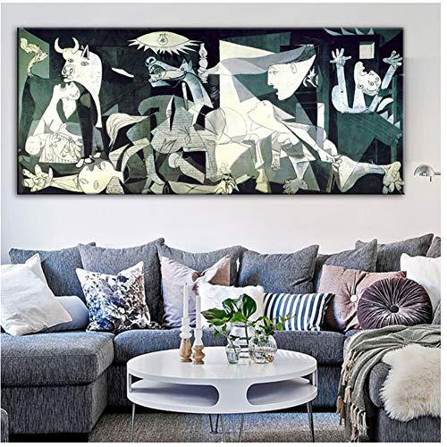 Guernica Berühmte Leinwand Gemälde Reproduktionen Druck Auf Leinwand Kunstdrucke Kunstwerk Von Picasso Wandbilder Für Wohnzimmer Wand-50x120 cm Kein Rahmen