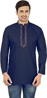 Maple Clothing Fashion Shirt Embroidered Men's Short Kurta Cotton Indian Dress