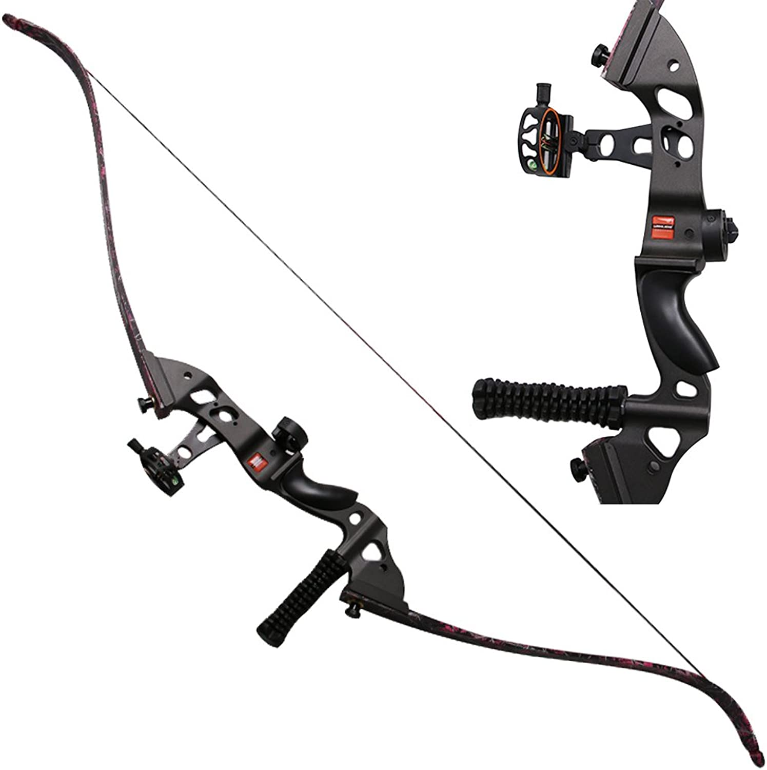 HBG Archery 60'' Takedown Recurve Bow Alloy Right Handed Hunting Long Bow Set Included Bow Sight,Arrow Rest,Stabilizer 35-55lbs