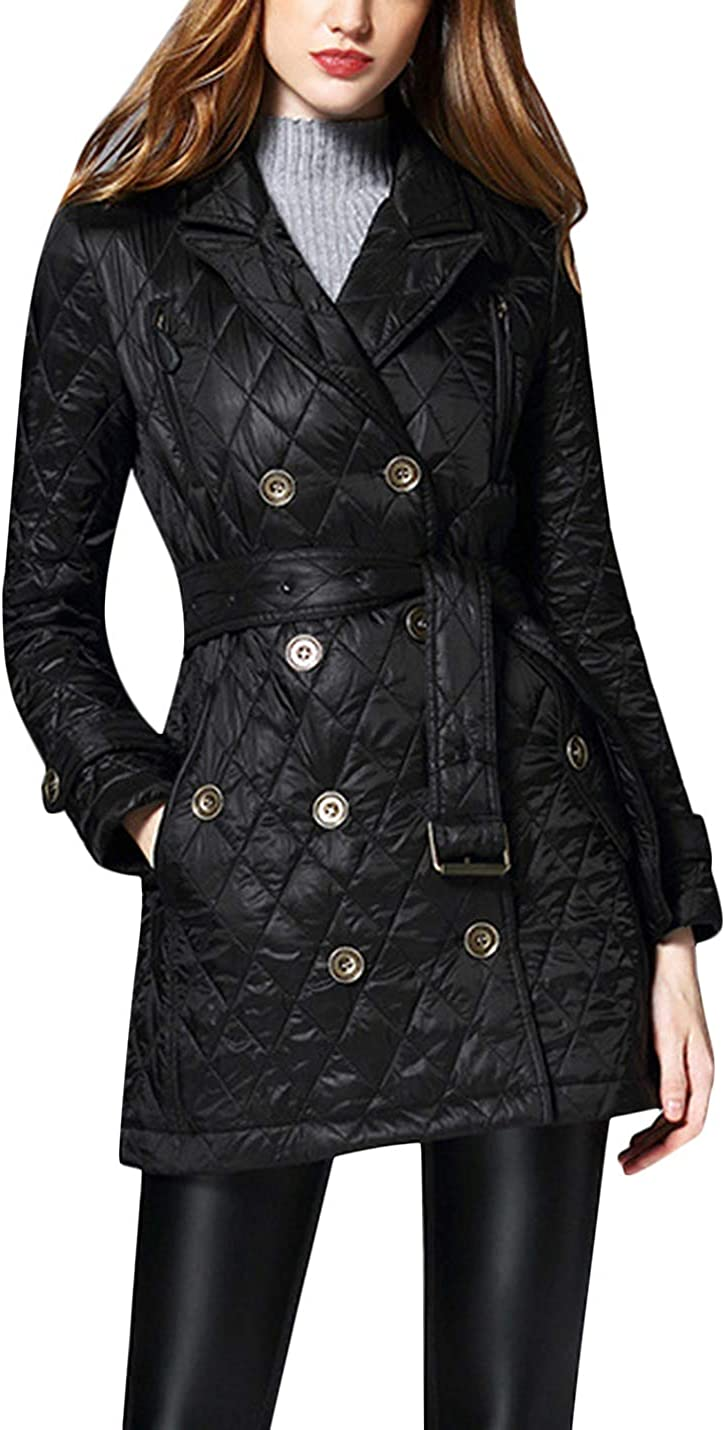 Uaneo Women's Casual Diamond Quilted Cotton Warm Midi Jacket Coat (Large, Black)