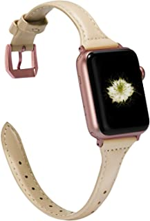 Wearlizer Womens Thin Light Pink Leather Compatible with Apple Watch Band 38mm 40mm for iWatch Sports Thin Strap Replacement Wristband Cool Cute Bracelet (Rose Gold Metal Buckle) Series 5 4 3 2 1