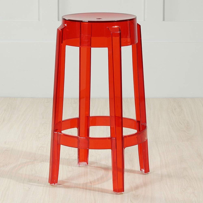 Transparent Chair Crystal High Chair Bar Creative Leisure Chair Plastic Acrylic Stool(65x29x29cm) 0517A (color   Red)