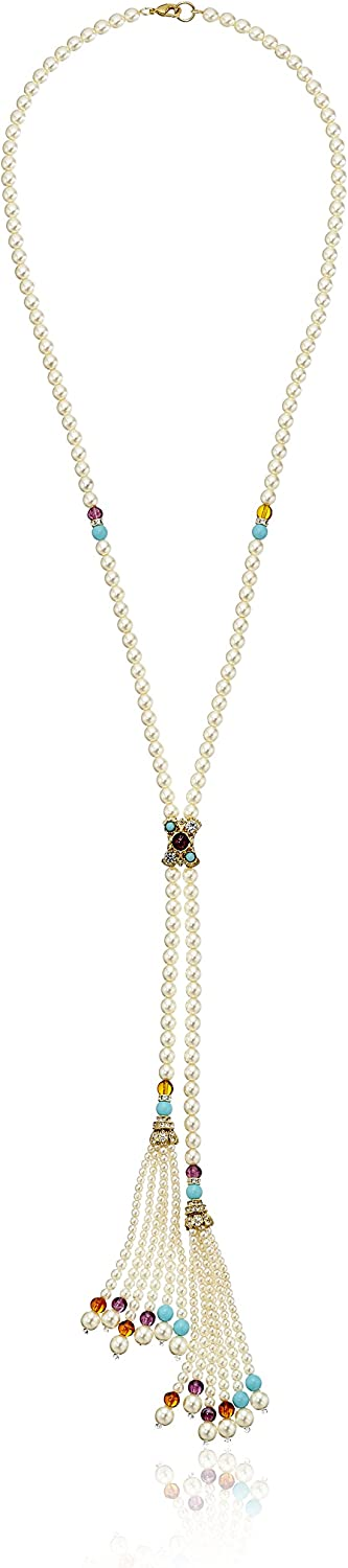 Ben-Amun Jewelry Necklace with Glass Pearl Tassel Strands, 27