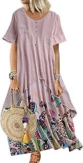 Damen Sommerkleid Elegant Baumwolle Leinen Vintage Ärmellos Blumen Baggy Lose Beiläufige Lang Kleider MaxiKleid Plus Size