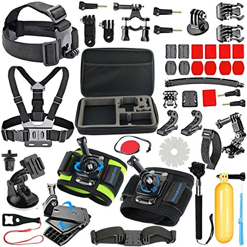 SmilePowo 51-in-1,Outdoor Sports Camera Accessories Kit,for GoPro Hero 7,6,5,4 Black, Hero 2018,Hero Session, Hero 7,6,5,4,3+ 3, SJ,Xiaomi,AKASO,DBPOWER,Lightdow,Camera, Head Strap,Carrying Case