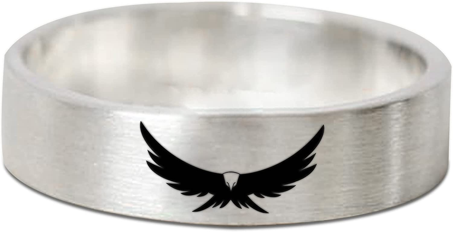Oxidized Max 49% OFF Eagle Ring Solid Jacksonville Mall Silver 925 B Sterling