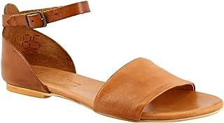 Leonardo Shoes Sandali Bassi da Donna Fatti a Mano in Pelle di Capra Cuoio Cinturino Caviglia - Codice Modello: PC129L Cap...