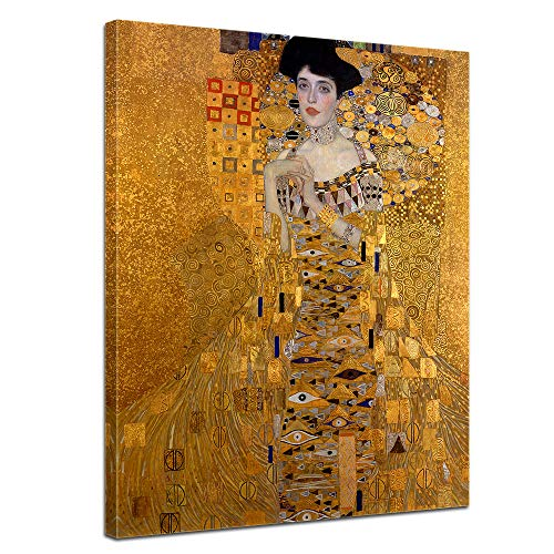 Wandbild Gustav Klimt Adele Bloch Bauer I - 30x40cm hochkant - Alte Meister Berühmte Gemälde Leinwandbild Kunstdruck Bild auf Leinwand