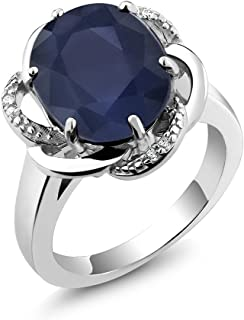 Gem Stone King 925 Sterling Silver Blue Sapphire Women's Ring 5.07 cttw Gemstone Birthstone (Available 5,6,7,8,9)