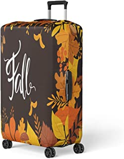 Pinbeam Luggage Cover Foliage Autumn Fall Leaves Thanksgiving Abstract Acorn Aspen Travel Suitcase Cover Protector Baggage Case Fits 26-28 inches