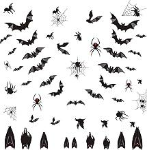Arttop Halloween Bats Wall Decal, Window Clings Sticker with Bats Spider Spiderweb, Spooky Bats Sticker for Halloween Part...