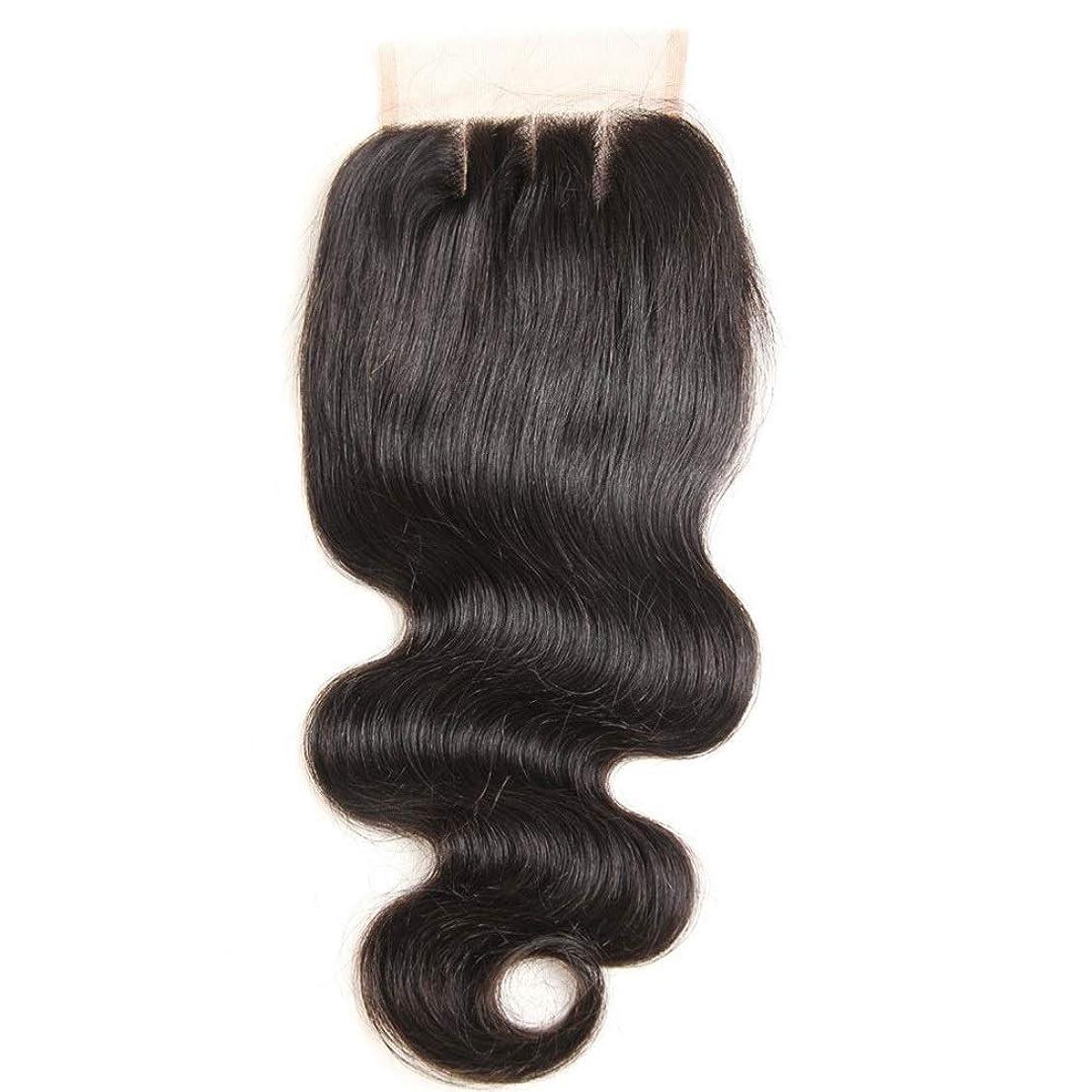 創造励起接続BOBIDYEE 耳に耳の前部閉鎖実体波ブラジルの人間の髪の毛4 * 4レース前頭閉鎖3パート用女性ロールプレイングかつら女性の自然なかつら (色 : 黒, サイズ : 20 inch)