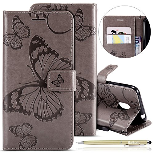 Herbests Compatible with MOTO G4 Play Wallet case Butterfly Pattern Premium Eelegant Leather Stand Flip Full Body Protective Cases Cover Credit Card Slot Magnetic Closure,Gray