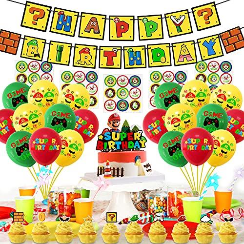 AnMeelin Mario Party Supplies Décoration de fête d'anniversaire Super Mario sur le thème des fêtes d'anniversaire, bannière Happy Birthday, décorations de gâteaux