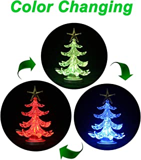 ANGROC LED Mini USB Powered Crystal Color Changing Decorative X'MAS Tree Light for Notebook and Desktop Merry Christmas Holiday Time Decor-(Multicolor)