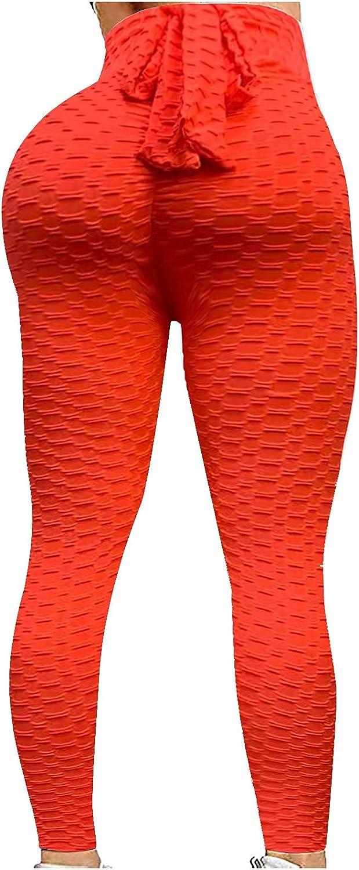 Yoga Pants for Women, Women's Solid Color Hip Lift Bubble Textured High Waist Sports Leggings Butt Lift Tummy Control