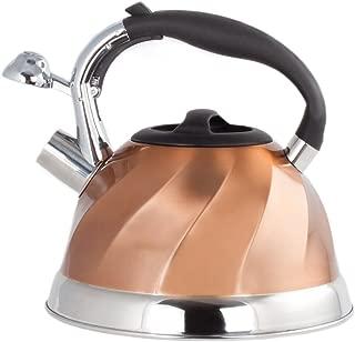 Imperial Home Whistling Tea Kettle Stainless Steel Copper Tea Kettle. 3 Qt Encapsulated Bottom Stylish Modern Design Classic Tea Kettle