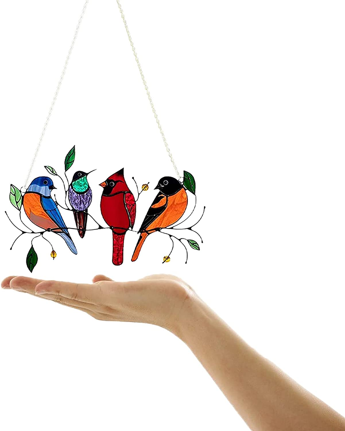 Multicolor Birds on a Wire High Stained Acrylic Window Panel, Art Pendant Home Decoration for Patio Yard, Personality Window Hangings, Gifts for Bird Lover