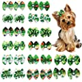 Masue Pets Dog Hair Bows for St. Patrick' s Day 20pcs/10 Piars Dog Rhinestone Bows Lucky Green Clovers Puppy Dog Bows Dog Grooming Accessories
