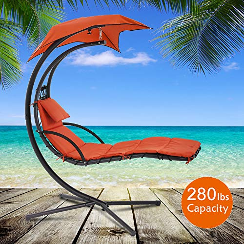 Best Home Product Hanging Chair Chaise Hammock Chair Stand Patio Porch Swing Chair Outdoor & Indoor Heavy Duty Arc Stand Air Porch Chaise Lounger with Canopy and Pillow 280 LBS Capacity