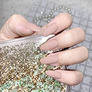 Poliphili 24Pcs Matte Medium Long Round Shape Pure Color Wear False Nails Press On Full Coverage Acrylic Fake Nails Tips (...