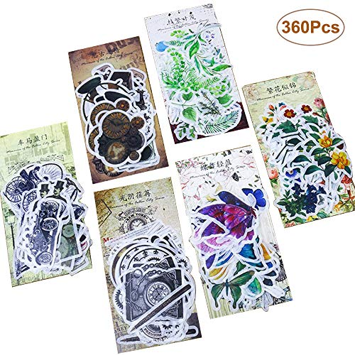 360 Pcs DIY Decorative Stickers/Creative Hand Account Sticker/Album Diary Decoration Stickers,Plants Floral Style Decoration Stickers,Adhesive Sticker for Scrapbooking,Letters,Notebook,Card