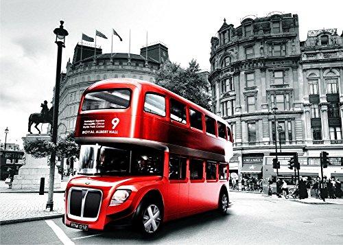 Wowdecor DIY Malen nach Zahlen Kits Geschenk für Erwachsene Kinder, Malen nach Zahlen Home Haus Dekor - Schwarz und Weiß London Straße Rot Bus 40 x 50 cm Ohne Rahmen