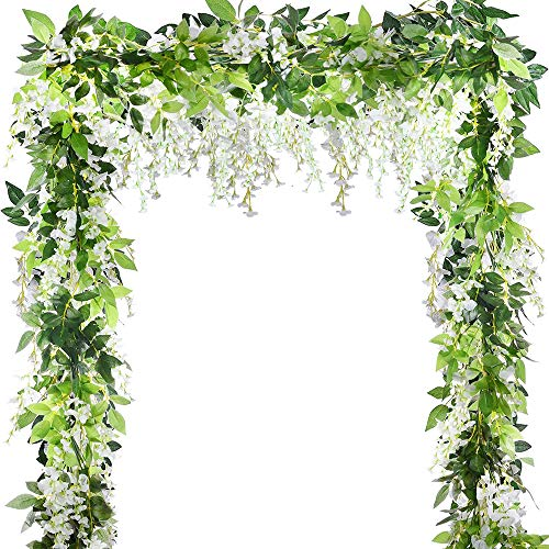 5pcs 33ft Artificial Silk Wisteria Ivy Garland Vine Artificial Flowers Hanging Plants Vines Greenery Fake Leaf Garland for Wedding Kitchen Home Party Decor(Milk White)
