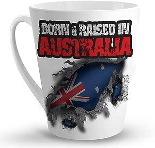 Makoroni - BORN & RAISED IN AUSTRALIA - 12 Oz. Unique LATTE MUG, Coffee Cup