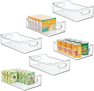 mDesign Wide Stackable Plastic Kitchen Pantry Cabinet, Refrigerator or Freezer Food Storage Bin Box Basket Tray with Handles - Organizer for Fruit, Yogurt, Snacks, Pasta - 14.5