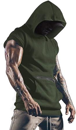 T-shirt à capuche sans manches pour homme avec poches, parfait pour le sport, fitness