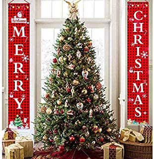 Fonder Mols Merry Christmas Porch Sign Banners, Merry Christmas Banner for Front Door, Home Christmas Decorations