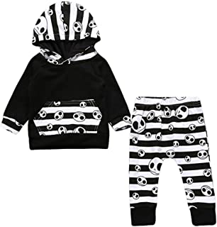 Vacally 子供服 ベビー用 女の子 男の子 子供 赤ちゃん ロングスリーブ ハロウィーンの頭蓋プリント フード付きセータースーツ ファッション 可愛い ベビ用ドレス  柔らかい おしゃれ  幼児 赤ちゃん ブラック (6-24M)