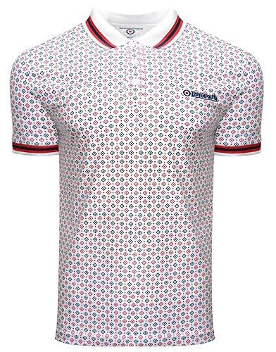 Lambretta Herren Poloshirt, geometrisch, AOP, Baumwolle Gr. 58, weiß