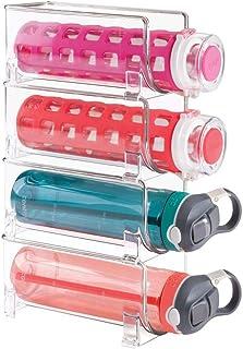 mDesign Botellero de vino para guardar botellas de vino o botellas de agua - Botellero apilable ideal para armarios de cocina y encimeras - Set de 4 unidades en color transparente