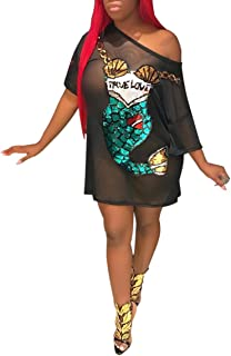 Women's Crew Neck Short Ruffle Sleeves Shirt Dress Digital Graffiti Print Club Dress