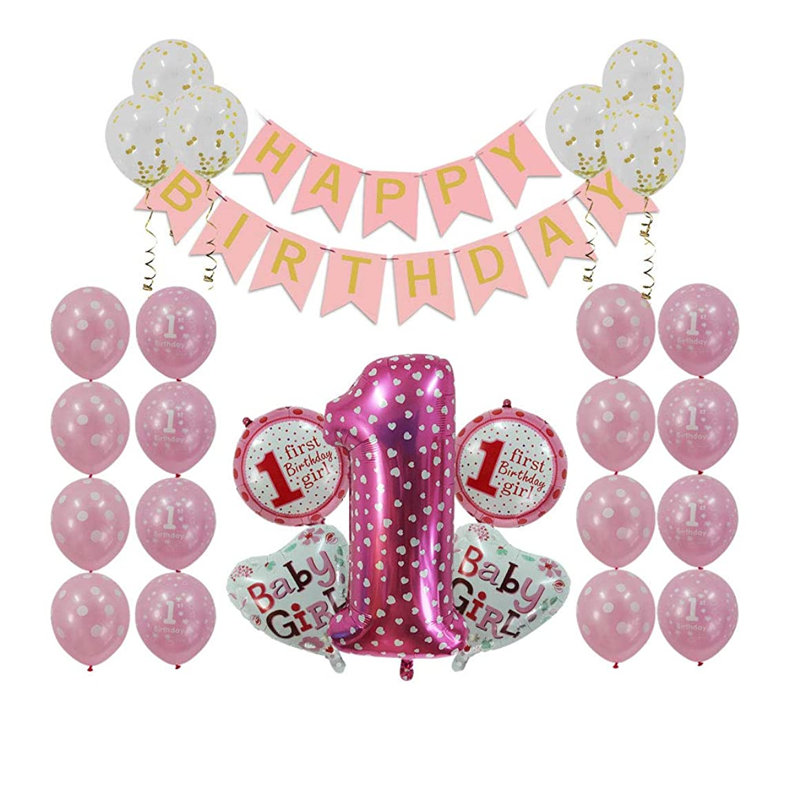 1st Birthday Girl Decorations Party Supplies Pink - First Birthday Gifts, Happy Birthday Banner, Number Balloons (1st Birthday Girl)