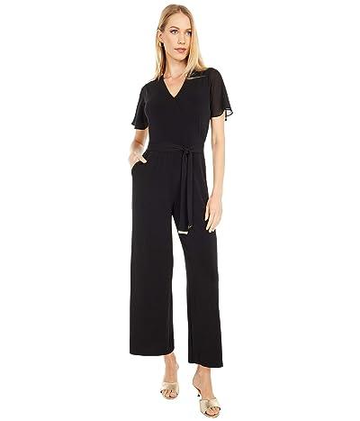 MICHAEL Michael Kors Petite Tie Waist Wrap Jumpsuit (Black) Women