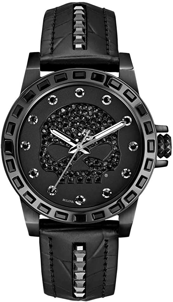 High quality new Harley-Davidson Max 49% OFF Women's Willie G Skull Crystal Watch Leat Studs