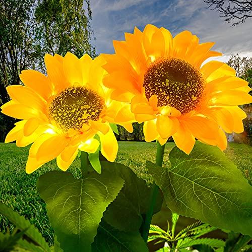 Luces solares de jardín para exteriores, Lámpara de Decoración Girasol Led Solar, 2 paquetes de luces solares flores IP65 a prueba agua,luz camino paisaje al aire libre para jardín