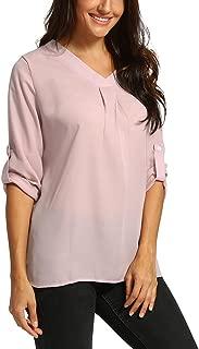kaifongfu Women Chiffon Long Sleeve Tops V Neck T-Shirt Ladies Blouse