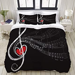 KUDOUXIA Duvet Cover Set Treble Love and Music Notes Lightweight Apartment Decorative Theme 3 Piece Bedding Set with 2 Pillow Shams Full/Queen
