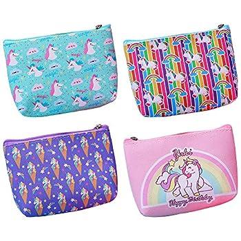 NA/ Unicorn Coin Purse 4 pcs Small Change Purse Coin Pouch Wallet for Little Girl Kids Women Unicorn Coin Bag Green Purple Pink Medium