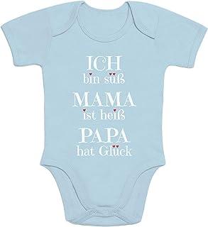 Shirtgeil Süßer Spruch Ich Bin süss, Mama ist heiß, Papa hat Glück Baby Body Kurzarm-Body