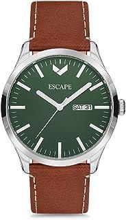 Escape Men's Tahoe 42MM 3 Hand/Date Silver Case on Pecan Leather Strap Watch