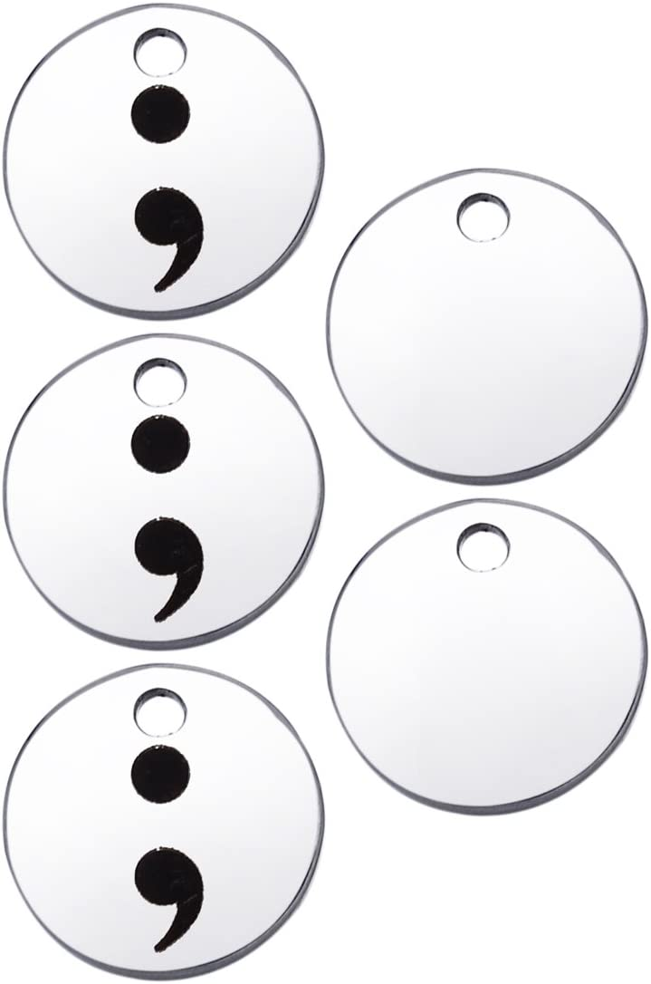 HooAMI Stainless Steel Semicolon Round trend rank Chicago Mall Silver Charms DIY Pendant