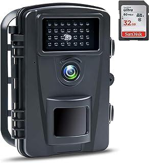 防犯カメラ トレイルカメラ ABASK 【2020年最新型】屋外カメラ 電池式 暗視カメラ 90°撮影範囲 人感センサー IP66防水防塵 野外用 1600万画素 1080Pフ...