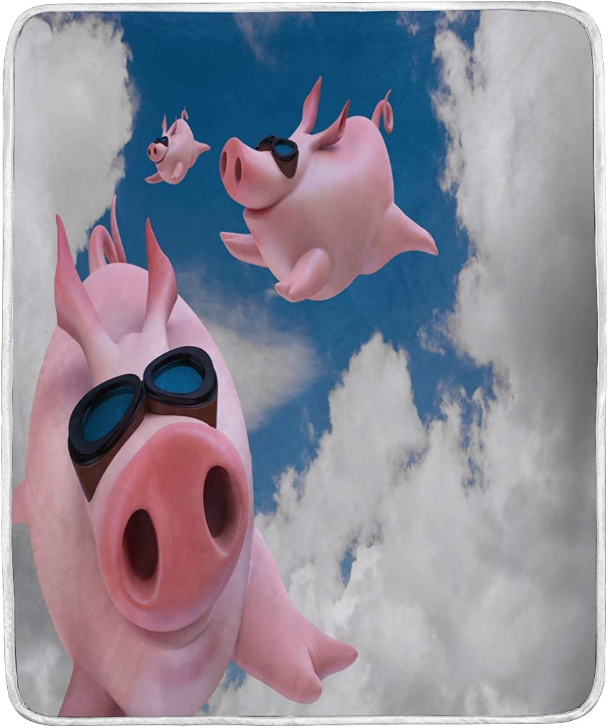 WXLIFE Cute Pig Piggy Flyng Sky Soft Warm Blanket for Bed Couch Sofa Lightweight Travelling Camping 60 x 50 Inch Throw Size for Kids Girl Boy Women