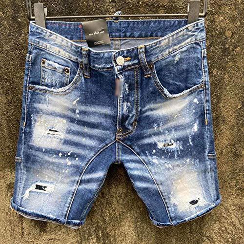 Fijnere Zomer Stijl Italië jeans heren Korte broeken Heren spijkerbroeken rechte verf Slank blauw gat Korte broeken heren jeans, 2983,50