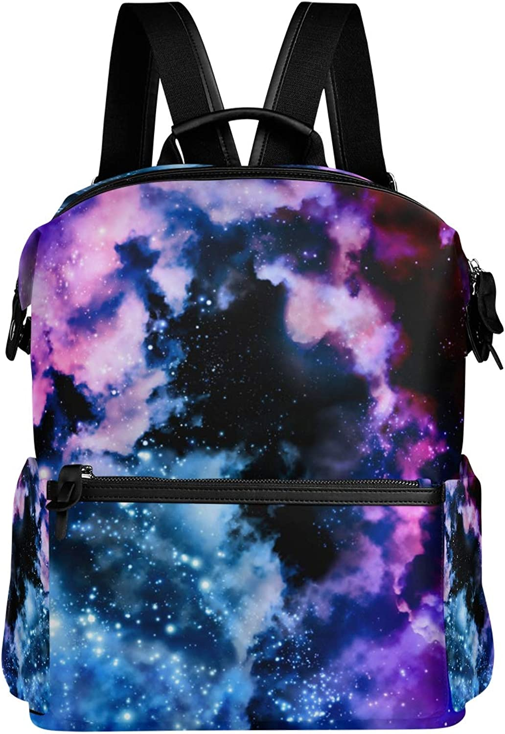 MONTOJ Purple and Red color Galaxy Pattern Leather Travel Bag Campus Backpack